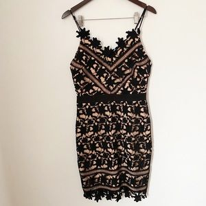 Adelyn Rae Black Lace Overlay Cocktail Dress